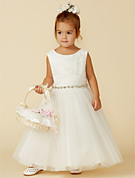 cheap -Princess Floor Length Wedding / First Communion Flower Girl Dresses - Lace / Tulle Sleeveless Jewel Neck with Lace / Sash / Ribbon / Bow(s)