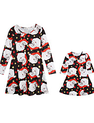 cheap -Adults Kids Mommy and Me Basic Christmas Daily Geometric Solid Colored Christmas 3/4 Length Sleeve Long Above Knee Regular Dress Red