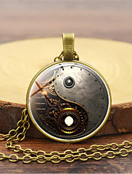 cheap -Men's Pendant Necklace Retro yin yang Vintage Chinoiserie Steampunk Kinetic Glass Alloy Black Gold Silver 45+5 cm Necklace Jewelry 1pc For Masquerade Professional