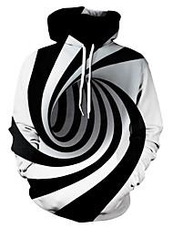 cheap -Men's Plus Size Basic Hoodie - Striped / Color Block / 3D Hooded Black US42 / UK42 / EU50