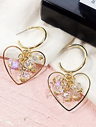 cheap -Women's Drop Earrings Link / Chain Heart Ladies European Gold Plated Austria Crystal Earrings Jewelry Gold For Street 1 Pair