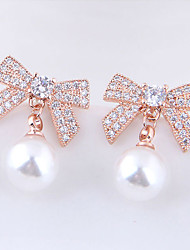 cheap -Women's White Cubic Zirconia tiny diamond Stud Earrings Classic Bowknot Ladies Sweet Fashion Elegant Imitation Pearl Earrings Jewelry Gold / Silver For Party Date 1 Pair