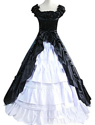 cheap -Vintage Gothic Victorian Medieval 18th Century Dress Party Costume Masquerade Women's Satin Cotton Costume Black / White Vintage Cosplay Sleeveless Floor Length Plus Size Customized