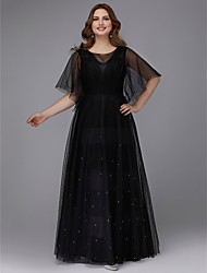 cheap -A-Line Plus Size Black Prom Formal Evening Dress Jewel Neck Half Sleeve Floor Length Tulle with Beading 2020