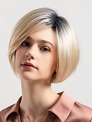 cheap -Human Hair Capless Wigs Human Hair Natural Straight Bob / Pixie Cut / Short Hairstyles 2019 New Arrival / Ombre Hair / Natural Hairline Multi-color Short Capless Wig Women's