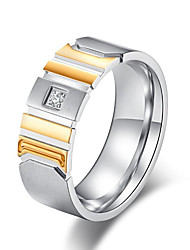 cheap -Men's Band Ring Groove Rings AAA Cubic Zirconia 1pc Gold Black Titanium Steel Stylish Festival Jewelry Two tone Spiga