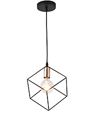 cheap -1-Light Vintage Black Mini Metal Cage Loft Mini Pendant Lights Modern Living Room Dining Room Hallway Light Fixture