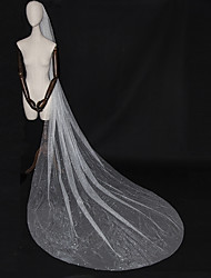 cheap -One-tier Luxury / Elegant & Luxurious Wedding Veil Cathedral Veils with Sparkling Glitter / Paillette Tulle / Angel cut / Waterfall