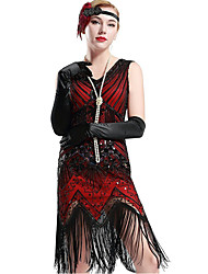 cheap -The Great Gatsby Charleston 1920s Roaring Twenties Flapper Dress Dress Flapper Headband Women's Sequins Costume Head Jewelry Vintage Necklace Red black Vintage Cosplay Party Prom Sleeveless / Gloves