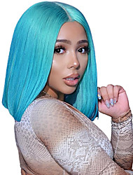 cheap -Remy Human Hair Lace Front Wig Bob Short Bob Wendy style Brazilian Hair Straight Blue Wig 130% Density with Baby Hair Women Natural Hairline Coloring Bleached Knots Women's Short Human Hair Lace Wig