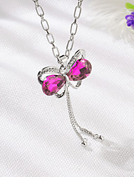 cheap -Women's Crystal Charms Hollow Out faceter Butterfly Bowknot Ladies Sweet Fashion Rhinestone Alloy Navy White Purple Fuchsia Blue Necklace Jewelry 1pc For Daily Street