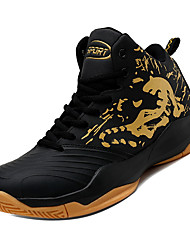 cheap -Men's Light Soles Leather Fall Sporty Athletic Shoes Basketball Shoes Shock Absorbing Black / Gold / Black / White / Black / Red
