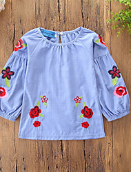 cheap -Kids Toddler Girls' Active Sweet Daily Holiday Plants Floral Embroidered Print Long Sleeve Knee-length Cotton Blouse Blue