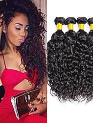 cheap -4 Bundles Water Wave Human Hair Unprocessed Human Hair Headpiece Natural Color Hair Weaves / Hair Bulk Hair Care 8-28 inch Natural Color Human Hair Weaves Newborn Waterfall Cool Human Hair Extensions
