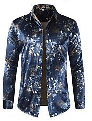 cheap -Men's Weekend Basic Cotton Shirt - Geometric / Color Block Print Blue / Long Sleeve