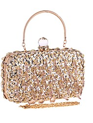cheap -Women's Bags Polyester Evening Bag Beading Sequin Solid Color Wedding Party Event / Party Champagne Silver