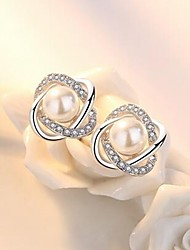cheap -Women's Stud Earrings Hollow Out Flower Ladies Stylish Classic Imitation Pearl Rhinestone Earrings Jewelry Silver For Daily 1 Pair
