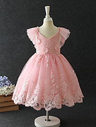 cheap -Princess / A-Line Midi / Medium Length Pageant Flower Girl Dresses - Chiffon / Organza / Tulle Short Sleeve V Neck with Lace / Butterfly / Tiered