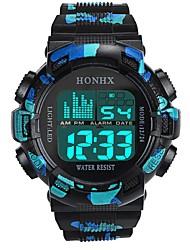 cheap -Men's Sport Watch Digital Watch Japanese Digital Silicone Black / Blue 30 m Water Resistant / Waterproof Alarm Calendar / date / day Digital Fashion - Black Black / Blue / Chronograph / Stopwatch