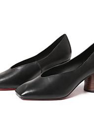 cheap -Women's Heels Chunky Heel Square Toe Sheepskin Casual / Minimalism Spring Black / Light Brown / Daily