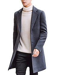 cheap -Men's Daily / Work Spring &  Fall Plus Size Regular Trench Coat, Solid Colored Fantastic Beasts Straight Collar Long Sleeve Cotton / Polyester Wine / Army Green / Light gray / Double Breasted