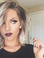cheap -Human Hair Capless Wigs Human Hair Natural Wave Bob / Layered Haircut / Short Hairstyles 2019 / With Bangs Halle Berry Hairstyles Ombre Hair / Dark Roots / Side Part Ombre Machine Made Wig Women's