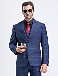 cheap -Patterned Tailored Fit / Standard Fit Wool / Polyester Suit - Peak Single Breasted One-button / Single Breasted Two-buttons / Suits