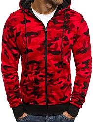 cheap -Men's Hoodie Sweatshirt Zipper Camo / Camouflage Dark Grey Red Light Grey Cotton Fitness Running Top Plus Size Long Sleeve Sport Activewear Breathable Quick Dry Sweat-wicking Micro-elastic
