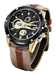 Недорогие -Муж. Спортивные часы Армейские часы электронные часы Японский Цифровой Кожа Коричневый / Зеленый 30 m Защита от влаги Календарь Секундомер Аналого-цифровые Кольцеобразный Мода -  / Два года