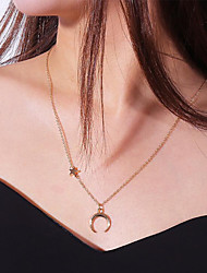 cheap -Women's Pendant Necklace Classic Moon Star double horn Ladies Stylish Simple Silver Plated Gold Plated Alloy Gold Silver 40 cm Necklace Jewelry 1pc For Party / Evening Daily