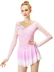 cheap -Figure Skating Dress Women's Girls' Ice Skating Dress Pink Halo Dyeing Spandex Stretch Yarn Lace High Elasticity Professional Competition Skating Wear Handmade Fashion Long Sleeve Ice Skating Winter