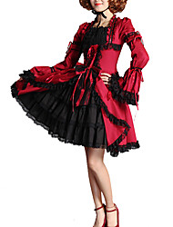 cheap -Artistic / Retro Sweet Lolita Dress Girls' Female Lace Japanese Cosplay Costumes Red Solid Colored Vintage Flare Sleeve Long Sleeve Knee Length