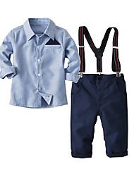 cheap -Kids Boys' Basic Daily Solid Colored Striped Long Sleeve Regular Regular Cotton Clothing Set Light Blue