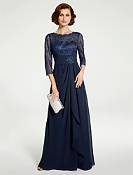 cheap -A-Line Jewel Neck Floor Length Chiffon / Lace 3/4 Length Sleeve Mother of the Bride Dress with Lace / Ruching 2020 / Illusion Sleeve