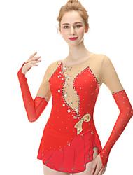 cheap -Figure Skating Dress Women's Girls' Ice Skating Dress Red Spandex Stretch Yarn High Elasticity Skating Wear Handmade Fashion Long Sleeve Ice Skating Winter Sports Figure Skating / Kid's