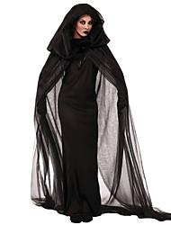 Недорогие -ведьма Косплэй Kостюмы Костюм для вечеринки Взрослые Жен. Хэллоуин Фестиваль / праздник Черный Мужской Карнавальные костюмы Однотонный Кружева
