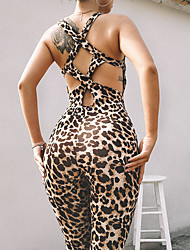 cheap -Women's High Rise Cut Out Criss Cross Romper Workout Jumpsuit Leopard Zumba Yoga Fitness Bodysuit Sleeveless Activewear Breathable Butt Lift Tummy Control Stretchy Skinny