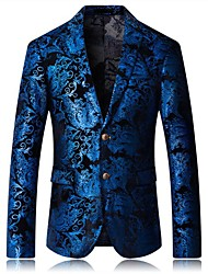 cheap -Men's Daily Spring / Fall Plus Size Regular Blazer, Check Shirt Collar Long Sleeve Cotton / Polyester Blue