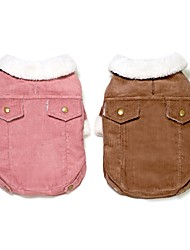 cheap -Rodents Dogs Cats Coat Jacket Winter Dog Clothes Brown Pink Costume Dalmatian Corgi Beagle Corduroy Solid Colored Vintage Classic Casual / Sporty S M L XL XXL