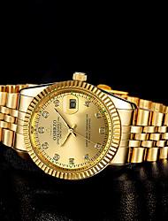 Недорогие -Муж. Наручные часы Кварцевый Нержавеющая сталь Золотистый Секундомер Светящийся Новый дизайн Аналоговый Роскошь Элегантный стиль - Черный Белый Золотой Один год Срок службы батареи