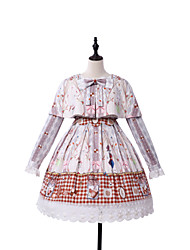 cheap -Princess Lolita Victorian Dress Girls' Female Japanese Cosplay Costumes Beige Print Bishop Sleeve Long Sleeve Knee Length / Classic Lolita Dress
