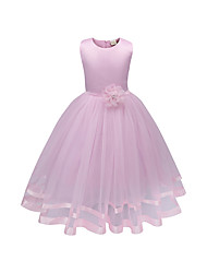 cheap -Kids Little Girls' Dress Solid Colored Flower Tulle Dress Daily White Purple Red Sleeveless Basic Dresses 3-12 Years