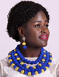 Недорогие -Жен. Струнные ожерелья Многослойный Дамы Мода африканец Серьги Бижутерия Зеленый / Розовый / Ярко-розовый Назначение Для вечеринок