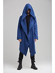 cheap -Men's Daily Street chic Long Trench Coat, Solid Colored Hooded Long Sleeve Polyester Black / Blue / Green