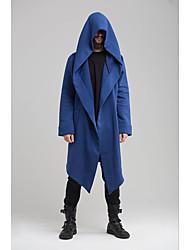 abordables -Homme Quotidien Chic de Rue Longue Trench, Couleur Pleine Capuche Manches Longues Polyester Noir / Bleu / Vert
