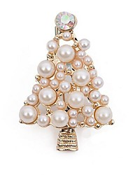 cheap -Women's Brooches Hollow Out Christmas Tree Ladies Stylish Classic Imitation Pearl Brooch Jewelry Gold For Christmas