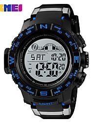 Недорогие -SKMEI Муж. Спортивные часы Армейские часы электронные часы Цифровой Стеганная ПУ кожа Черный 50 m Будильник Календарь Секундомер Цифровой На каждый день Мода - Черный Красный Синий / Один год