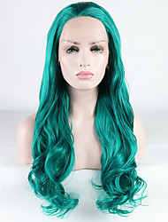 cheap -Synthetic Lace Front Wig Loose Wave Loose Curl Free Part Lace Front Wig Long Green Synthetic Hair 18-26 inch Women's Heat Resistant Synthetic Best Quality Green