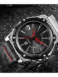 cheap -ASJ Men's Dress Watch Wrist Watch Japanese Japanese Quartz Genuine Leather Black 100 m Water Resistant / Waterproof Calendar / date / day Analog Classic Casual Fashion - Black Silver / Black One Year
