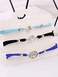 abordables -Femme Bracelet de cheville Tressé Arbre de la vie Décontracté / Sport Mode Bracelet de cheville Bijoux Argent Pour Vacances Festival / 3pcs